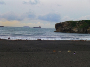 Black sand beach at Cijin
