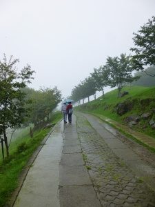Walking downhill in the summer rain